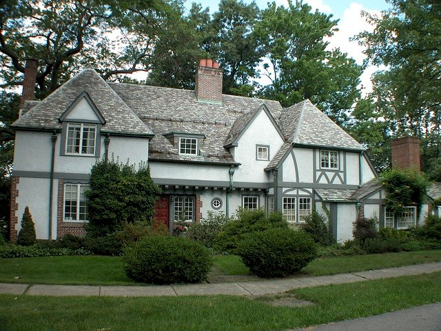 Victorian-style house in the suburbs.