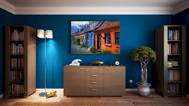 A room with a blue wall
